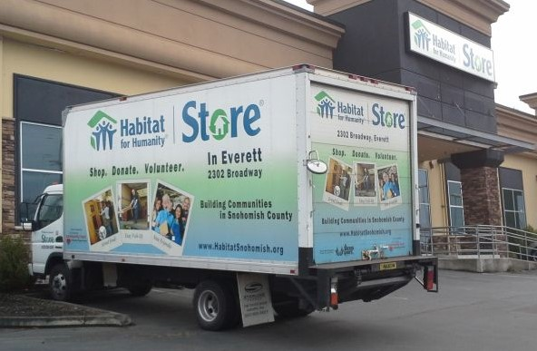 A photo of the Habitat snohomish donations truck