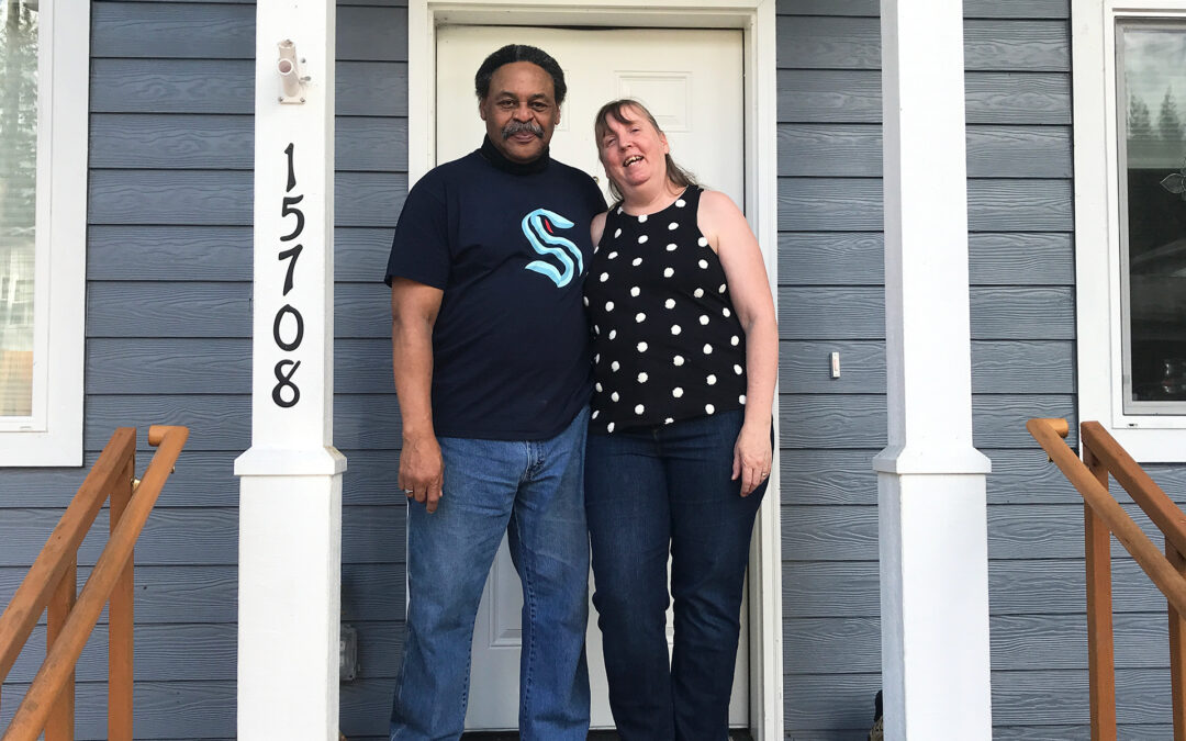 A photo of Michael and Vickie on their new front porch
